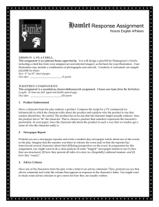 Hamlet Response Assignment  Honors English 4/Peters