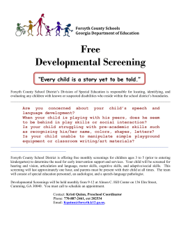 "Free Developmental Screening ""Every child is a story yet to be told."""