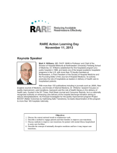 RARE Action Learning Day November 11, 2013 Keynote Speaker