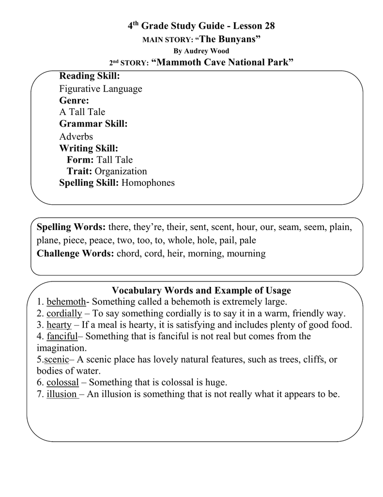 """4 Grade Study Guide - Lesson 28 The Bunyans"""" """"Mammoth Cave National Park"""""""