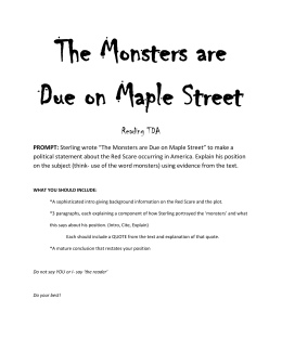 The Monsters are Due on Maple Street Reading TDA