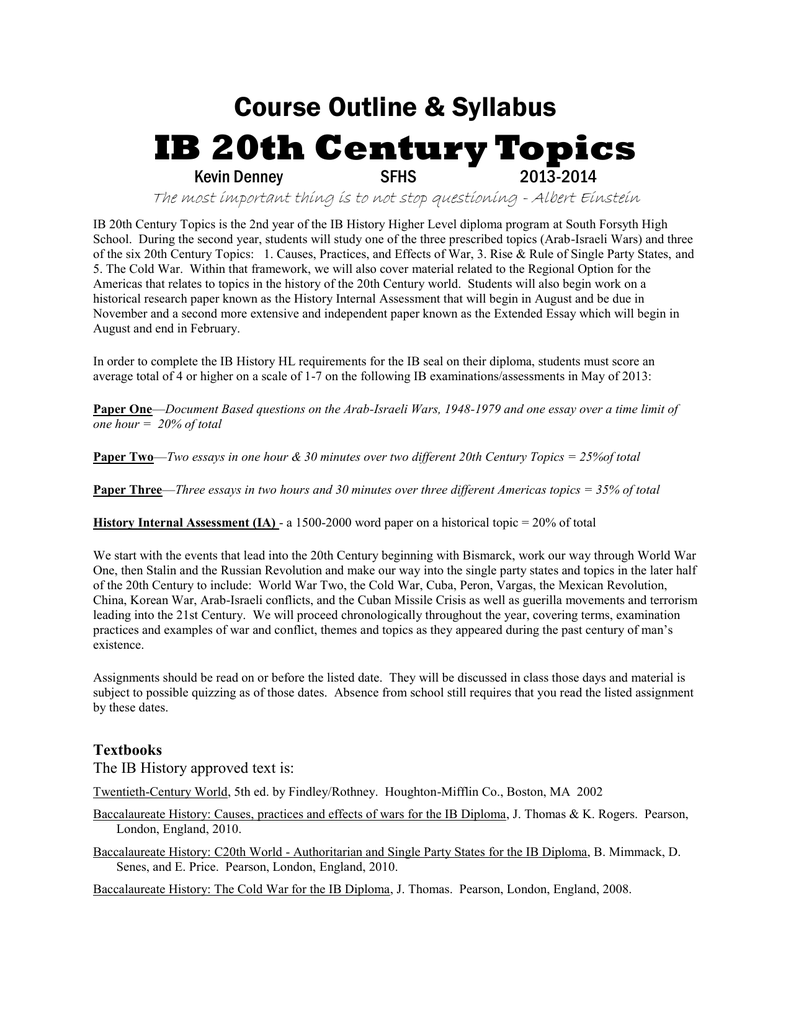 ib th century topics course outline  syllabus kevin denney  essays about english also computer science essay topics english essay topics
