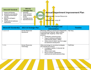 Annual Department Improvement Plan 2013-16 AdvancED Standards
