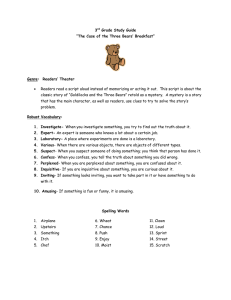 "3 Grade Study Guide ""The Case of the Three Bears' Breakfast"""