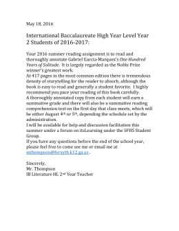 International Baccalaureate High Year Level Year 2 Students of 2016-2017:
