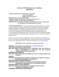 Advanced Marketing Course Syllabus 2009-2010