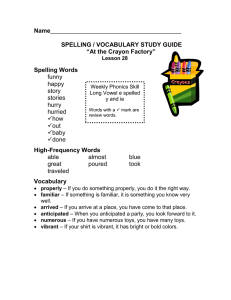 "Name SPELLING / VOCABULARY STUDY GUIDE ""At the Crayon Factory"""