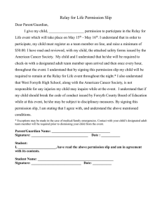 Relay for Life Permission Slip