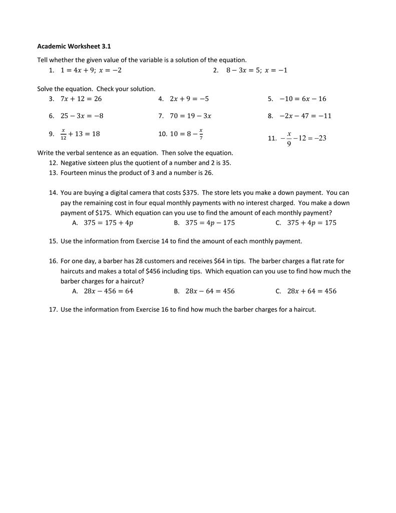 Academic Worksheet 31