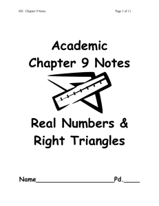 Academic Chapter 9 Notes Real Numbers &