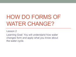 HOW DO FORMS OF WATER CHANGE?