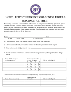 NORTH FORSYTH HIGH SCHOOL SENIOR PROFILE INFORMATION SHEET