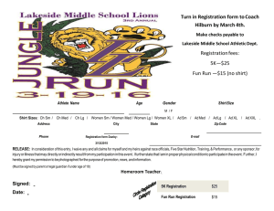 Turn in Registration form to Coach Hilburn by March 4th. Registration fees: 5K—$25