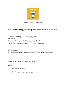 Thursday Chestatee GED classes