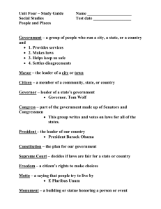 Unit Four – Study Guide Name _____________________ Social Studies