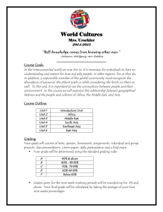 World Cultures Mrs. Urschler I Course Goals: