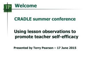 Welcome CRADLE summer conference Using lesson observations to promote teacher self-efficacy