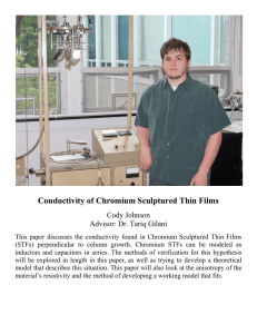 Conductivity of Chromium Sculptured Thin Films Cody Johnson Advisor: Dr. Tariq Gilani