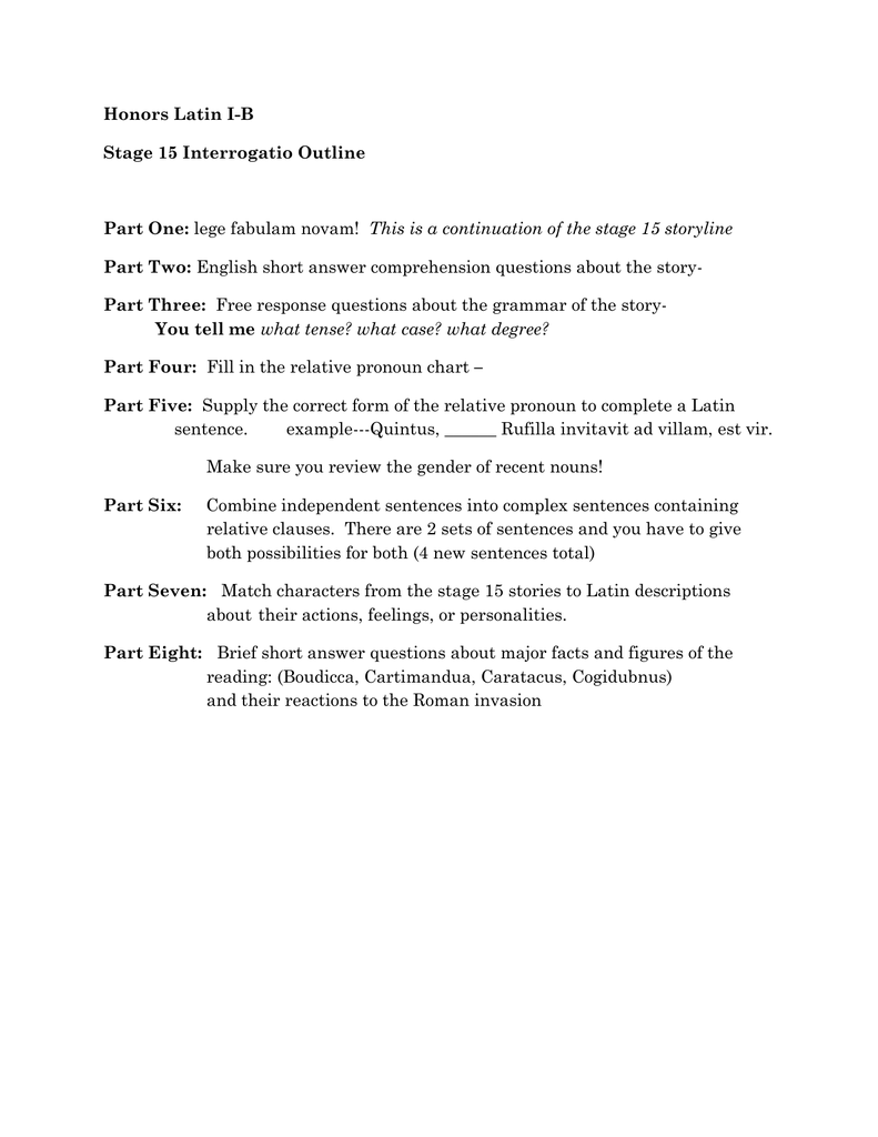 worksheet Boudicca Worksheet honors latin i b stage 15 interrogatio outline part one