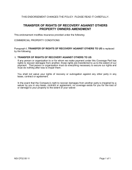 Sample property takeover letter transfer of rights of recovery against others property owners amendment maxwellsz