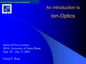 Ion-Optics An Introduction to Series of Five Lectures JINA, University of Notre Dame