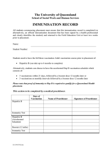 IMMUNISATION RECORD The University of Queensland