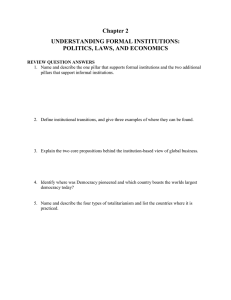 Chapter 2 UNDERSTANDING FORMAL INSTITUTIONS: POLITICS, LAWS, AND ECONOMICS
