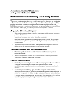 T Political Effectiveness: Key Case Study Themes Foundations of Political Effectiveness