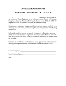 LA CROSSE/MONROE COUNTY  4-H SUMMER CAMP COUNSELOR CONTRACT
