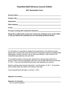 Classified Staff Advisory Council (CSAC) 2011 Nomination Form