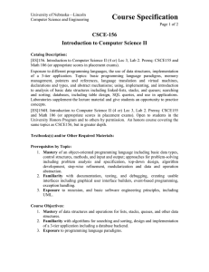 Course Specification CSCE-156 Introduction to Computer Science II