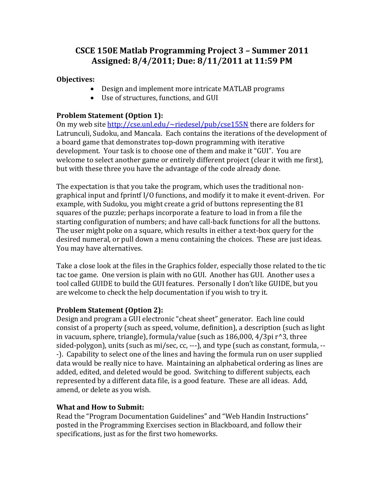 CSCE 150E Matlab Programming Project 3 – Summer 2011