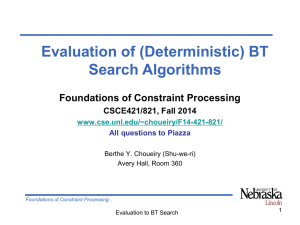 Evaluation of (Deterministic) BT Search Algorithms Foundations of Constraint Processing CSCE421/821, Fall 2014