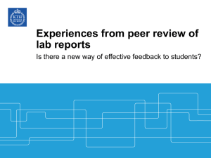 Experiences from peer review of lab reports