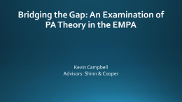 Bridging the Gap: An Examination of PA Theory in the EMPA