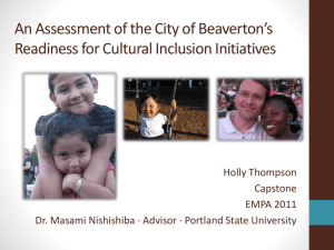 An Assessment of the City of Beaverton's Holly Thompson Capstone
