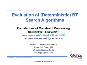 Evaluation of (Deterministic) BT Search Algorithms Foundations of Constraint Processing CSCE421/821, Spring 2011