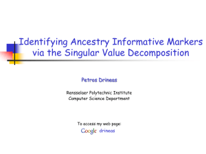 Identifying Ancestry Informative Markers via the Singular Value Decomposition Petros Drineas drineas