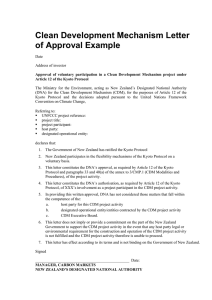Clean Development Mechanism Letter of Approval Example