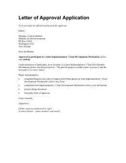 Letter of Approval Application