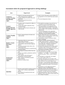 Assessment rubric for proposal of approach to solving challenge  Area Expert level