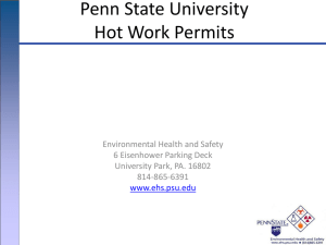 Penn State University Hot Work Permits Environmental Health and Safety