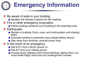 Emergency Information Be aware of exits in your building