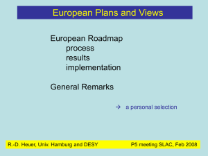European Plans and Views European Roadmap process results