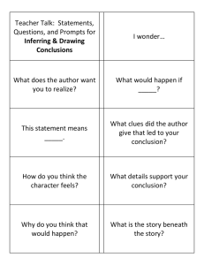 Teacher Talk:  Statements, Questions, and Prompts for  I wonder…