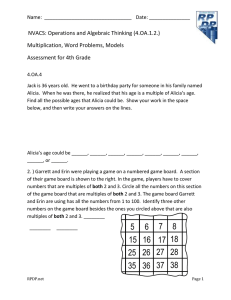 NVACS: Operations and Algebraic Thinking (4.OA.1.2.) Multiplication, Word Problems, Models