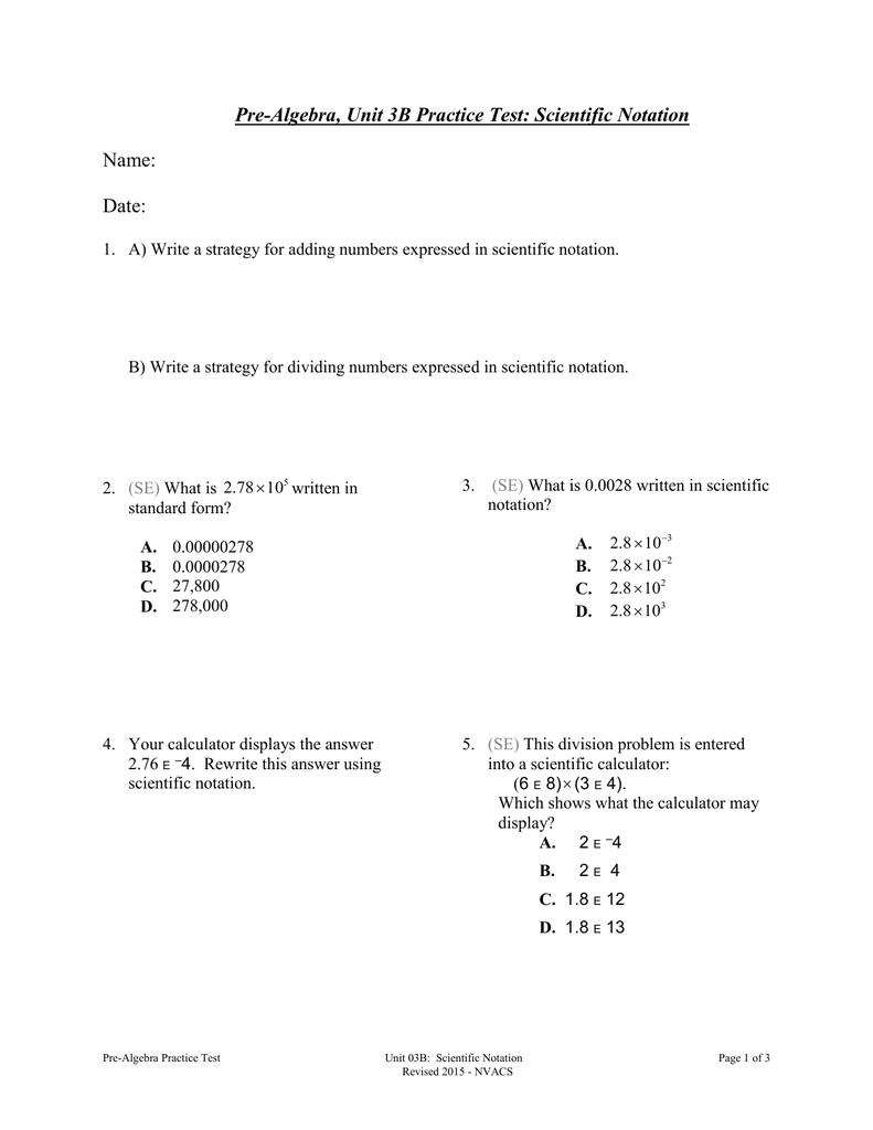 Pre algebra unit 3b practice test scientific notation name date falaconquin