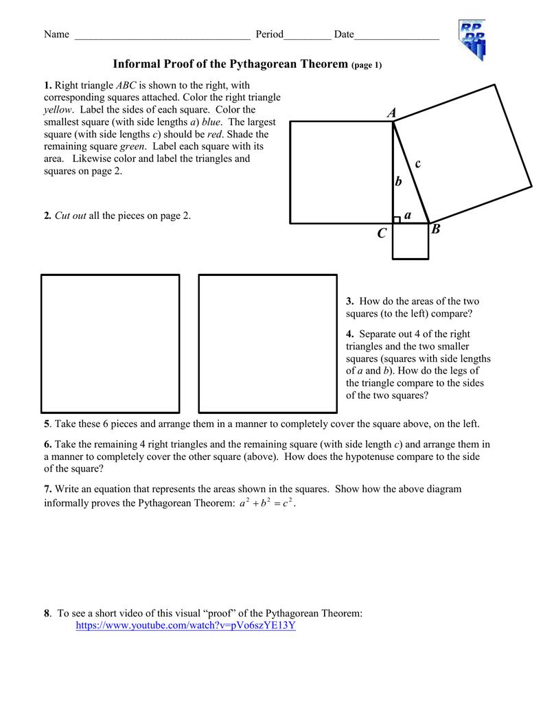 Informal Proof of the Pythagorean Theorem – Pythagorean Theorem Worksheet Doc