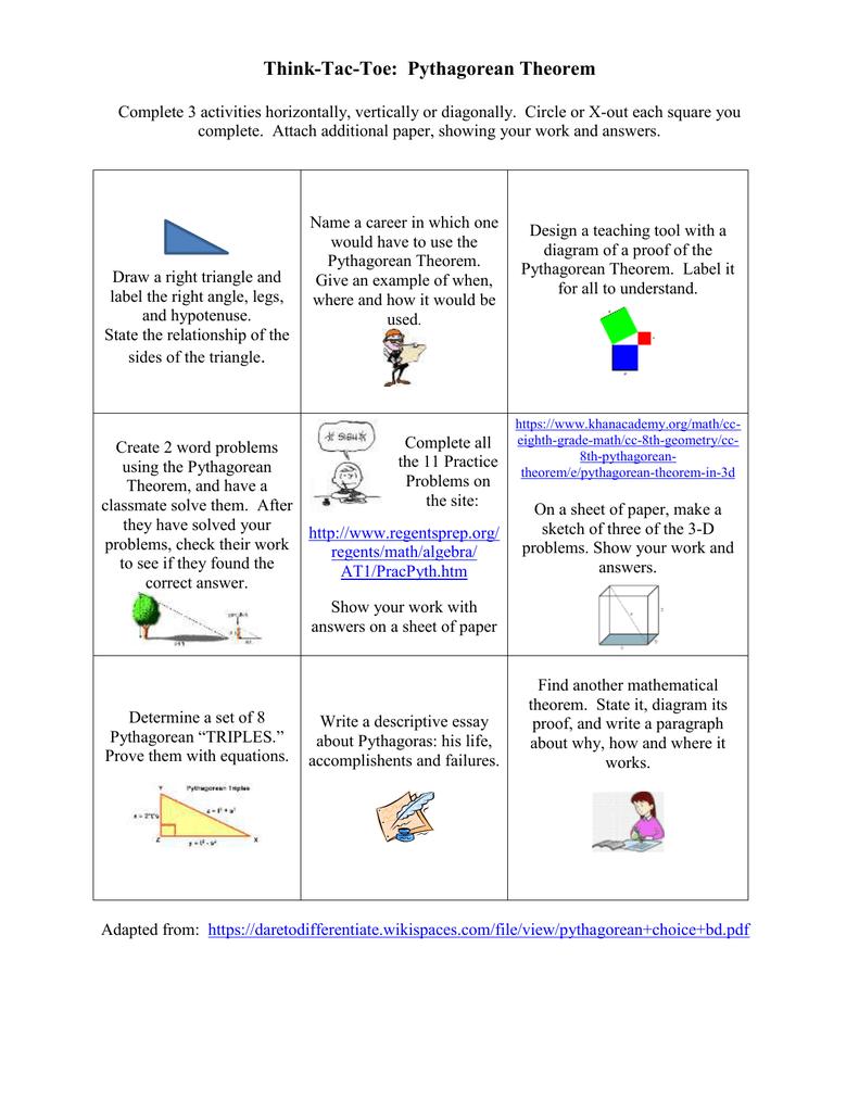 Workbooks pythagorean theorem worksheets pdf : Think-Tac-Toe: Pythagorean Theorem