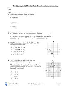Pre-Algebra, Unit 11 Practice Test:  Transformations & Congruence